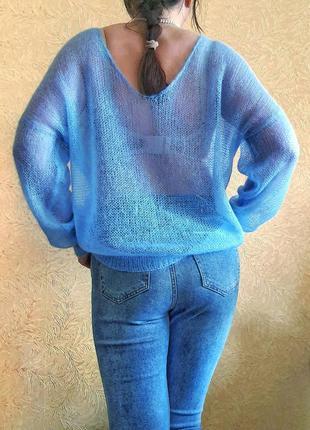 Нежный свитер джемпер паутинка из итальянского кидмохера небесно голубой