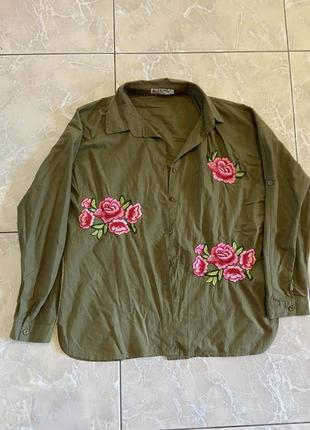 Рубашка хаки с вышивкой