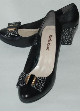 Оригинальные женские черные кожаные туфли на танкетке maria moro