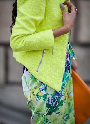 Роскошный фактурный лимонный твидовый пиджак-косуха zara trafaluc s идеально на осень
