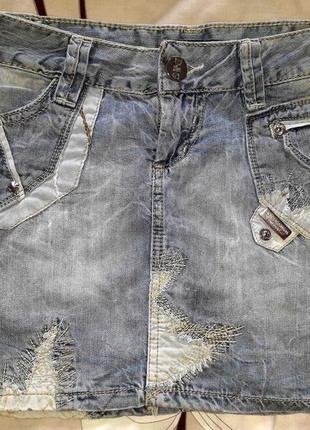 Мини юбка джинсовая dolce&gabanna d&g дольче габанна голубая летняя короткая