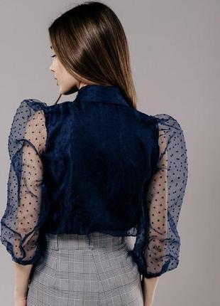 Актуальна блуза з прозорими рукавами