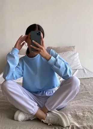 Кроп топ світшот худі короткое укороченное худи однотонне оверсайз толстовка реглан жіноча голубая блакитний