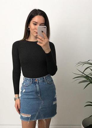 Джинсовая юбка zara рваная джинсовая юбка женская базовая юбка