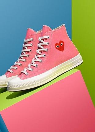 Converse comme des garcons play pink высокие кеды конверсы розовые с сердечком 💖