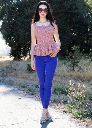 Продам синие джинсы с высокой талией джеггинсы фирменные размер 46