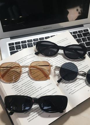 Новые солнцезащитные очки нові сонцезахисні окуляри чёрные бежевые круглые квадратные бесплатная доставка