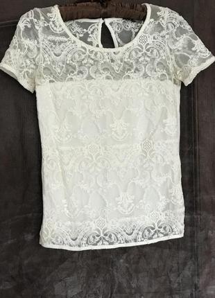 Топ, блуза, кофточка из бельгийского кружева c коротким рукавом