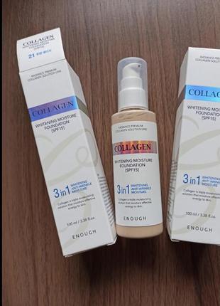 Тональный крем collagen enough 3 в 1, 100мл spf 15