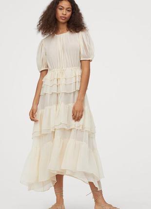 Шифоновое платье с воланами