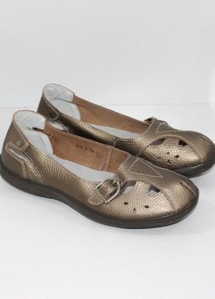 Туфли балетки летние  / туфли натуральная кожа  / кожаные мокасины