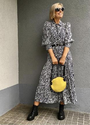 Платье-миди zara с принтом зебра