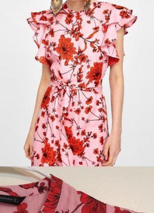 Платье zara лён в цветочный принт