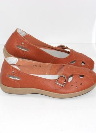 Женские кожаные летние туфли в теракотовом цвете
