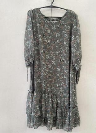 Зелёное шифоновое платье, в мелкий цветок,50 размер,