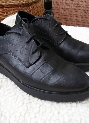 Шикарные трендовые кожаные туфли / оксфорды / броги / на платформе zign германия 100% кожа