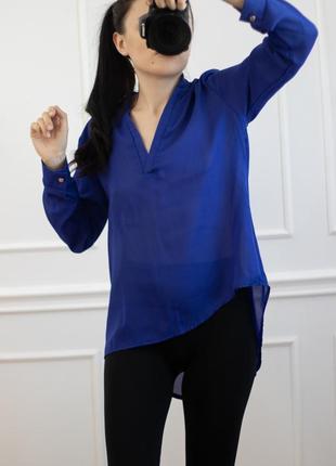 Блуза шифон синяя электрик длинный рукав