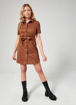 Новое замшевое платье рубашка под пояс