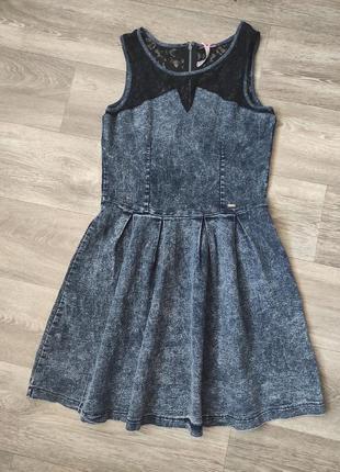Платье варенный джинс с гипюром crop clillin