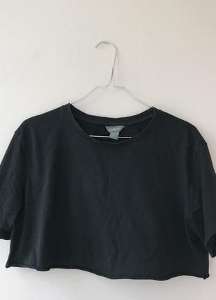 Черный укороченый топ футболка