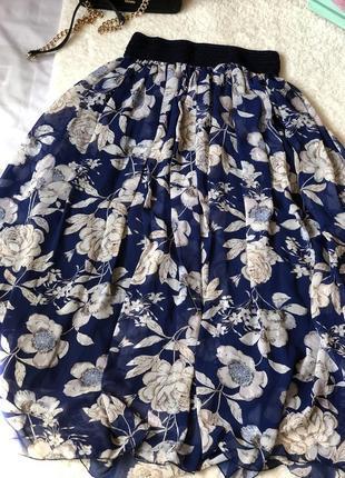 Воздушная шифоновая юбка в цветочный принт🌷р.m от jüwell