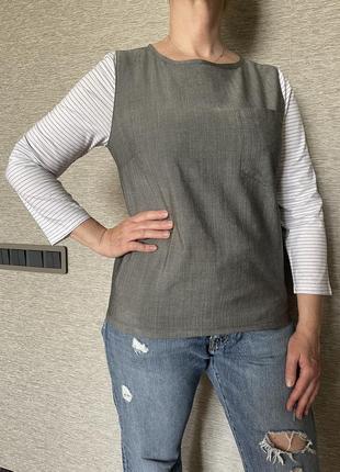 @don.bacon майка с длинным рукавом рубашка серая с белыми полосатыми рукавами