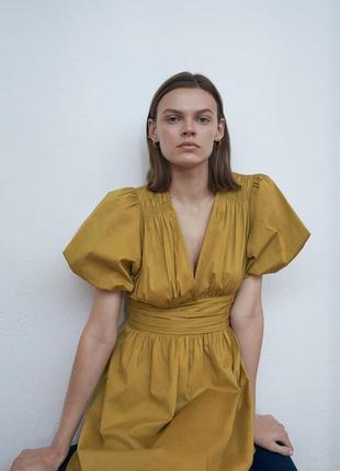 Zara платье мини из поплина , s, m