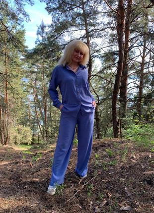 Стильный костюм брюки и рубашка жатка5 фото