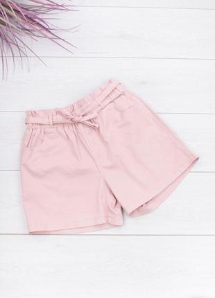 Женские розовые шорты с поясом