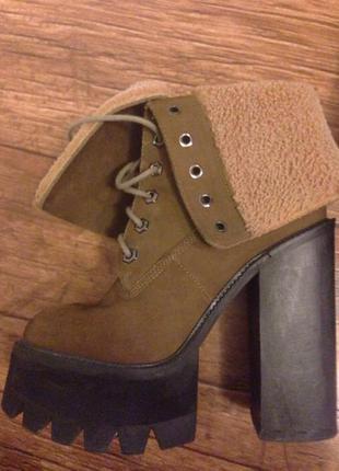 Зимние ботинки, ботинки на тракторной подошве, ботинки