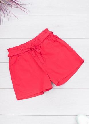 Женские яркие красные шорты с поясом