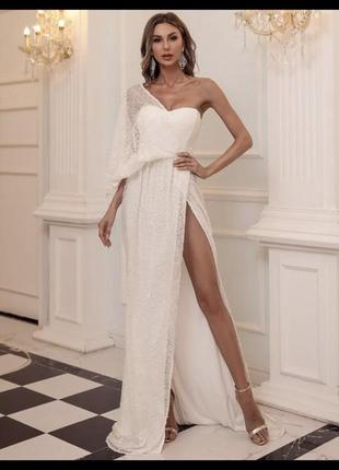 Свадебное  нарядное вечернее платье длинное бюстье сетка