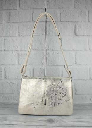 Мягкая, вместительная женская сумка gilda tohetti 60488-3 бежевая с золотистым напылением