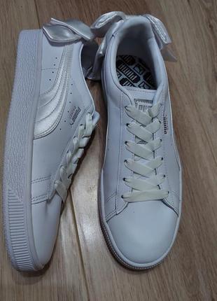 Белые кожаные кроссовки с бантами puma 40