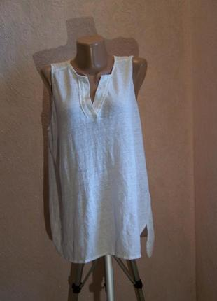 Белая футболка-майка v-образный вырез/100%лен трикотаж