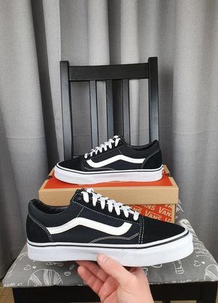 Vans old skool черные кеды для подростков. ванс олд скул черно белые