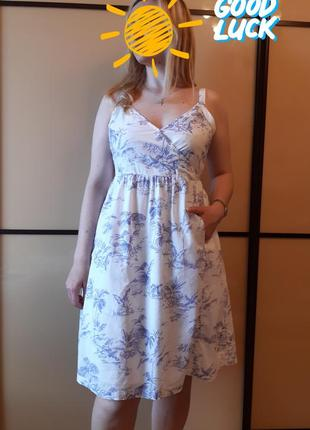 Натуральное платье, сарафан в принт фламинго, пальмы