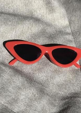 Очки женские солнцезащитные пластиковые кошачий глаз лисички кошечки ретро