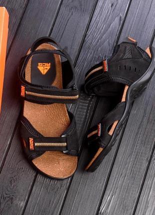 Чоловічі шкіряні сандалі / мужские кожаные сандалии nike active drive orangе