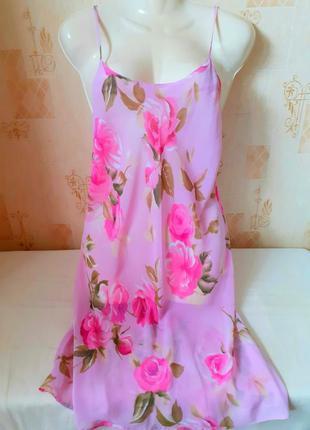 Пеньюар ночная рубашка с цветочным принтом