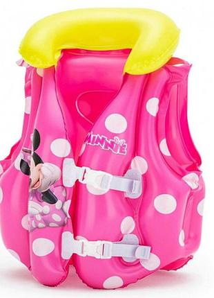 Детский надувной жилет bestway минни маус розовый от 3-6 лет