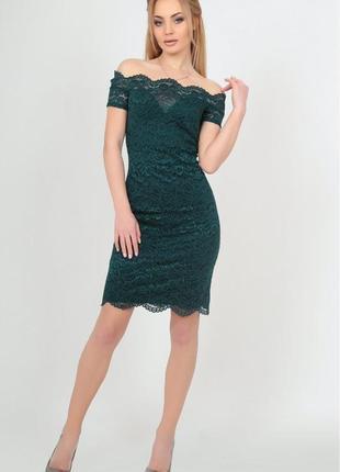 Платье футляр ажурное с открытой спинкой бутылочного цвета