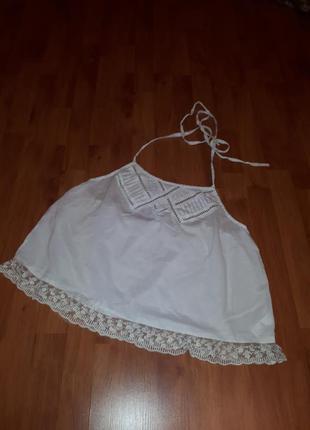 Майка на тонких бретелях в бельевом стиле топ рубашка блуза блузка ажурная