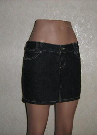 Юбка джинсовая черная, размер 44