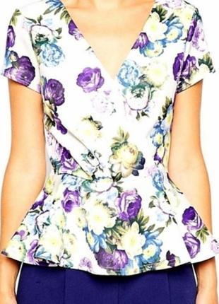 Брендовый топ блуза с баской цветочный принт asos
