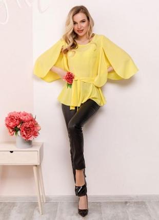 Арт: sa-149 блуза с баской и оригинальными рукавами цвета размеры