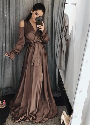 Коричневое платье вечернее длинное шелковое шоколад