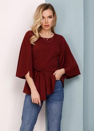 Арт: sa-149_бордовый  бордовая блуза с баской и оригинальными рукавами размеры цветта