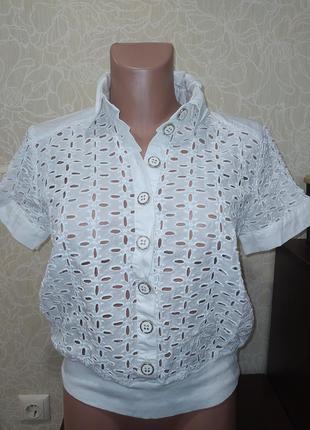 Блуза, рубашка из прошвы, кружевная.