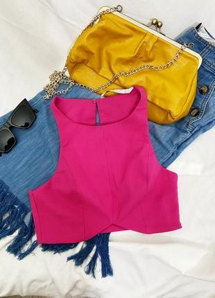 Zara trafaluc collection pink crop top тот топик укороченый